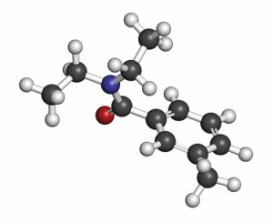 deet (diethyltoluamide, n,n-diethyl-meta-toluamide) insect repellent molecule. atoms are represented as spheres with conventional color coding: hydrogen (white), carbon (grey), oxygen (red), nitrogen (blue).